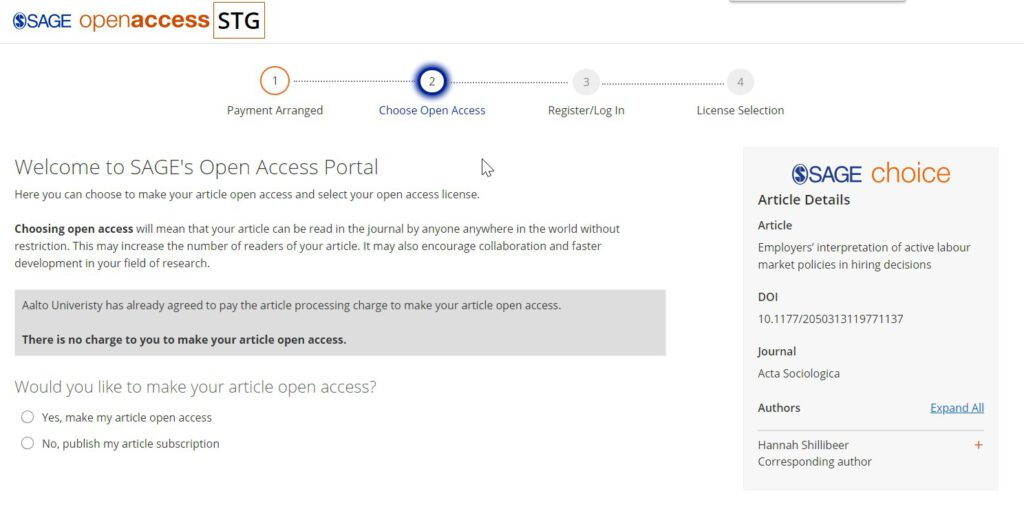 Welcome to Sage Open Access Portal -screenshot