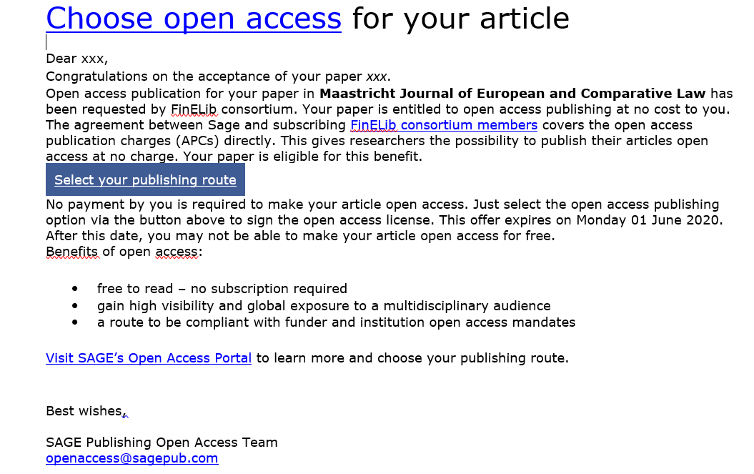 Email telling the author about the option to publish Open Access.