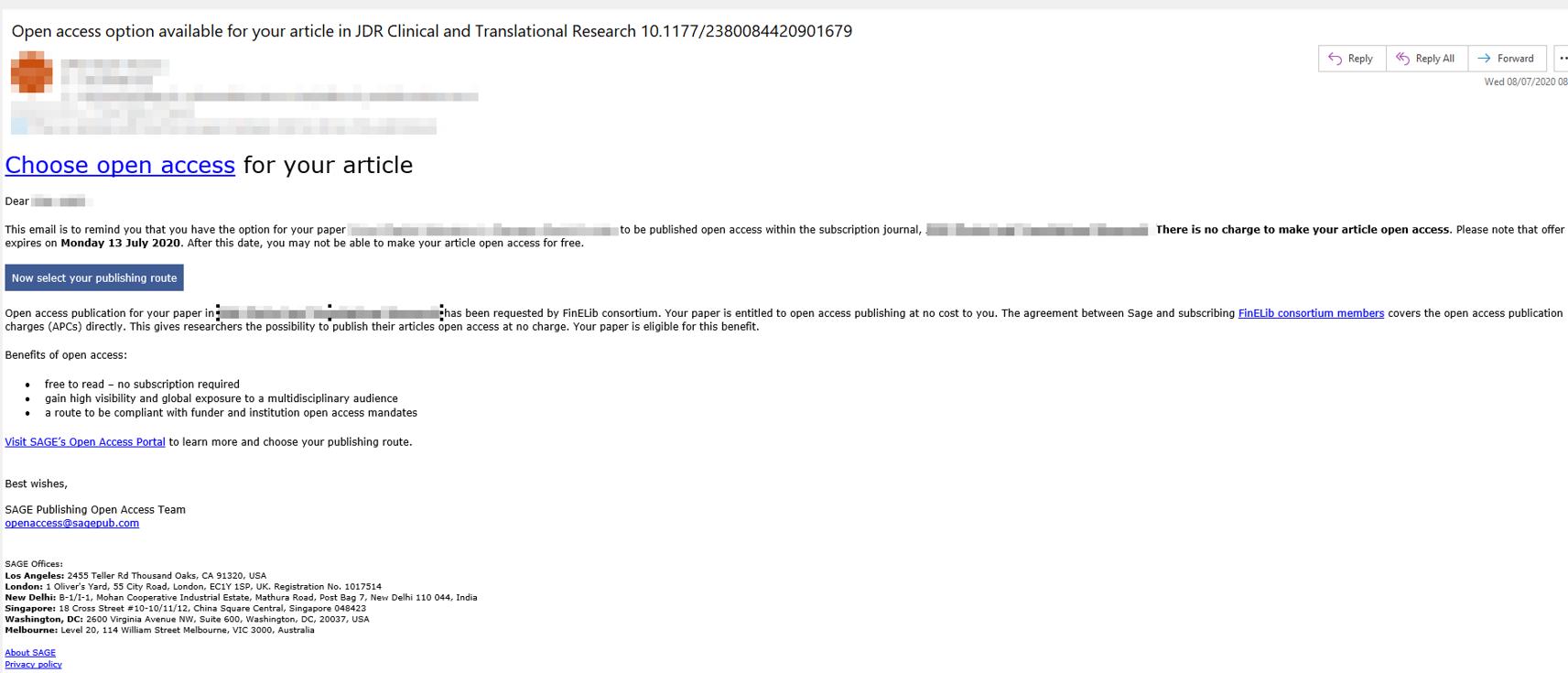 Muistutusviesti, jonka SAGE lähettää kirjoittajalle avoimen julkaisemisen mahdollisuudesta.