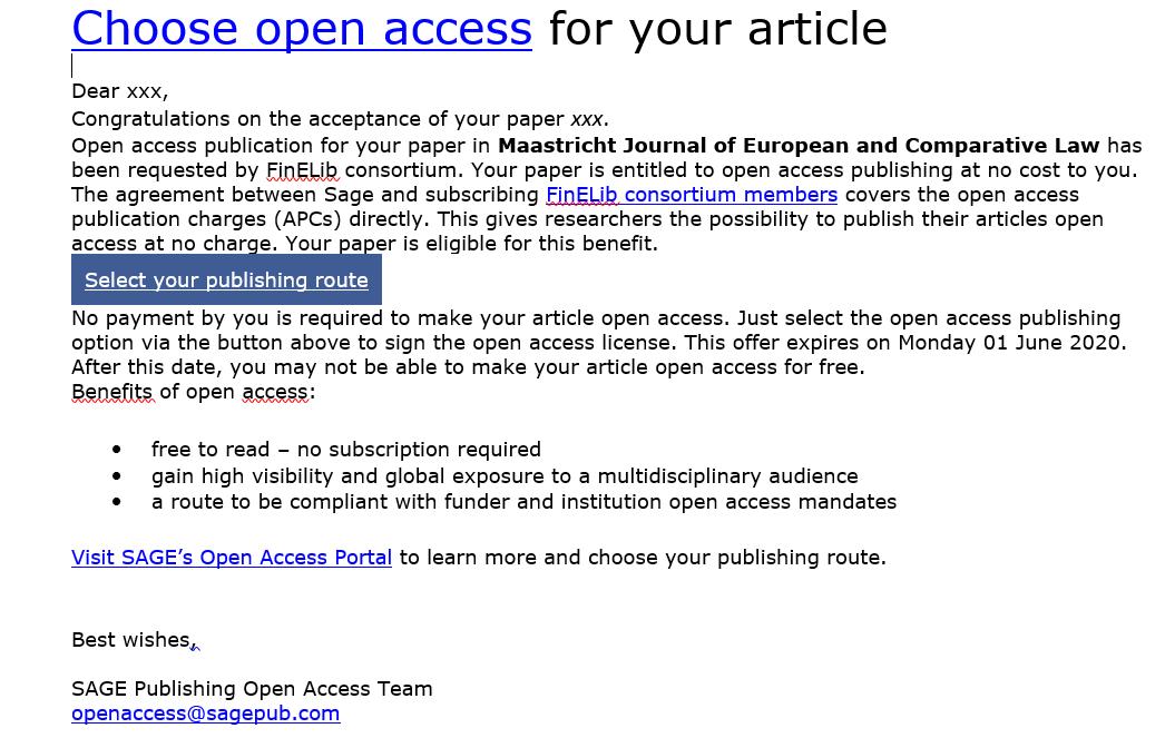Sähköpostiviesti, jossa SAGE kertoo tutkijalle avoimen julkaisemisen mahdollisuudesta.