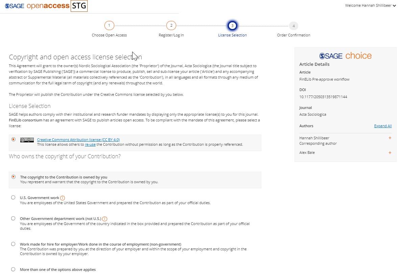 SOAP-järjestelmän sivu, jossa valitaan avoimen julkaisemisen lisenssi.