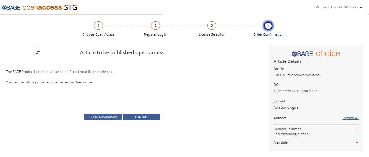 SOAP-järjestelmän sivu, jossa kirjoittajalle vahvistetaan, että artikkeli julkaistaan avoimena.