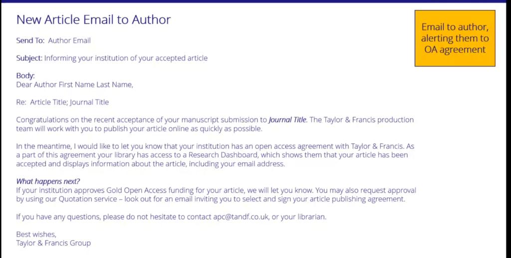 Sähköpostiviesti, jossa Taylor & Francis kertoo avoimen julkaisemisen mahdollisuudesta.