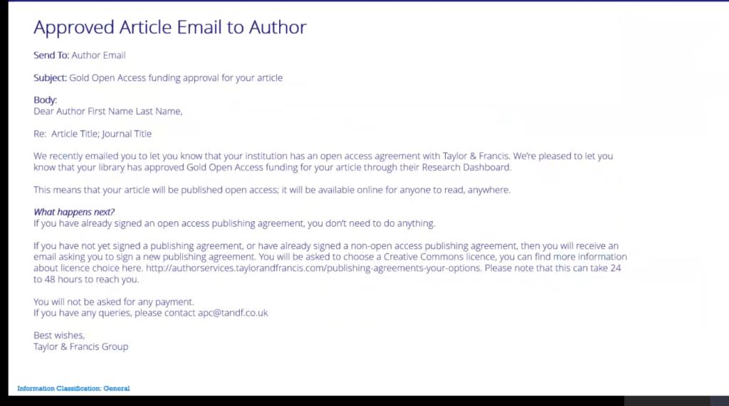 Sähköpostiviesti, jossa Taylor & Francis kertoo, että voit julkaista avoimena.