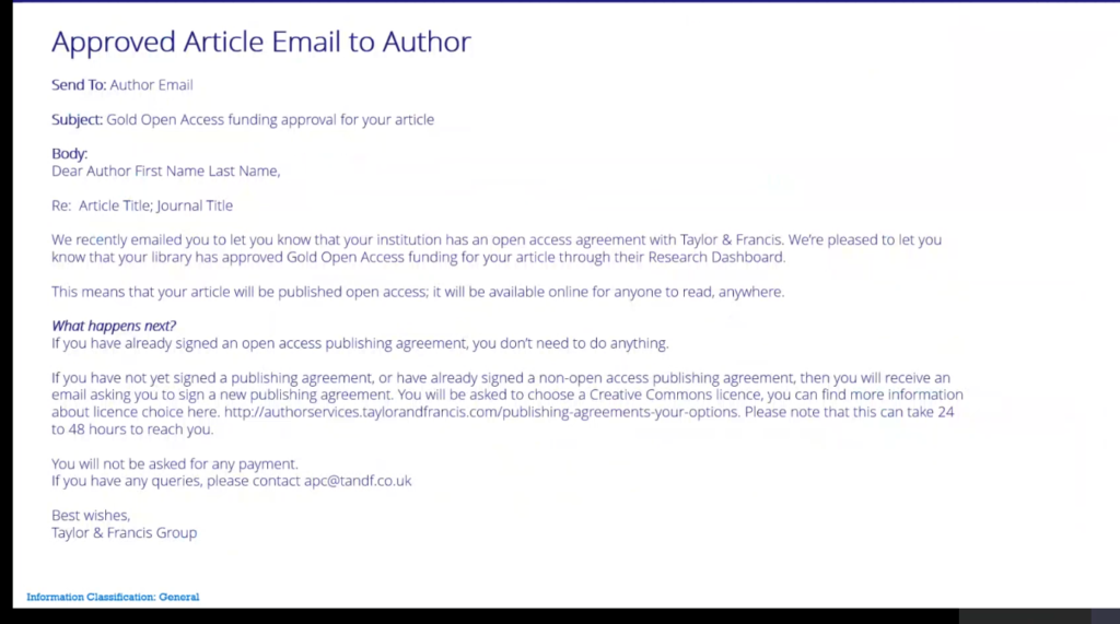 Email from Taylor & Francis telling that you are entitled to publish Open Access.