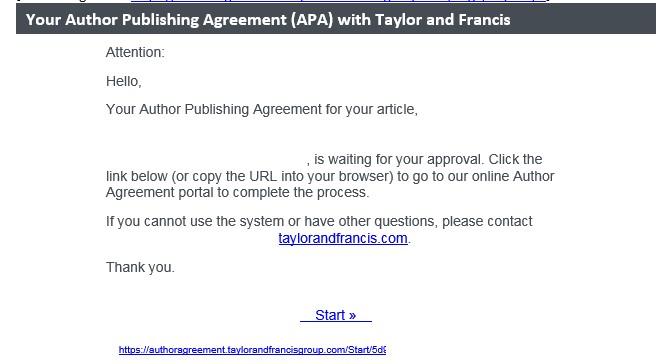 Sähköpostiviesti, jossa on linkki julkaisusopimukseen.