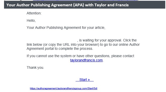 Email containing a link to publishing agreement.