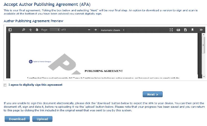 Julkaisusopimuksen allekirjoittaminen.
